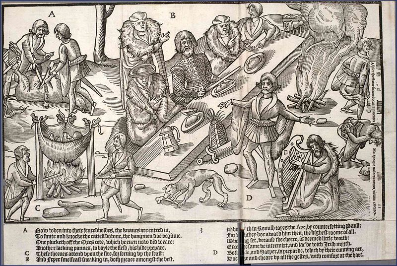MacSweeney's feasting from The Image of Ireland by John Derricke 1581